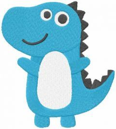 Blue baby dino free embroidery design