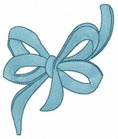 Blue bow embroidery design