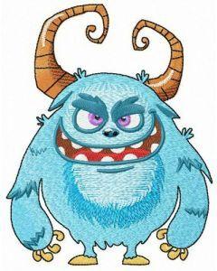Blue horny hurricane monster embroidery design