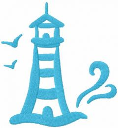 Blue lighthouse embroidery design