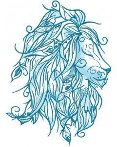 Blue lion embroidery design