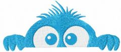Hiding blue monster embroidery design