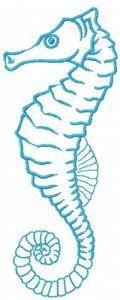 Blue seahorse embroidery design