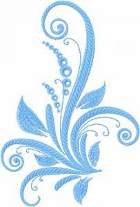 Blue swirl plant embroidery design