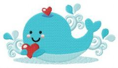 Blue whale with heart embroidery design
