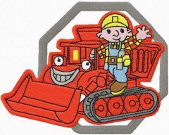Bob the Builder and bulldozer embroidery design