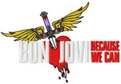 Bon Jovi because we can embroidery design