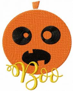 Boo Halloween pumpkin embroidery design
