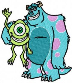 Sulley and Mike embroidery design