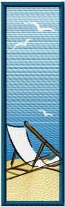 Bookmark on the beach free machine embroidery design