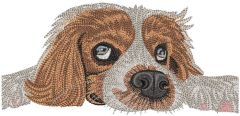 Bored dog waiting owner embroidery design