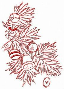 Branch of X-mas tree embroidery design