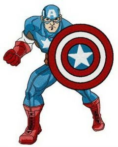 Brave and strong Captain America embroidery design