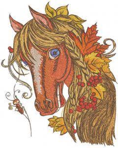 Bright Autumn horse embroidery design