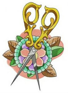 Brooch and scissors embroidery design