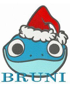 Bruni in Santa hat embroidery design