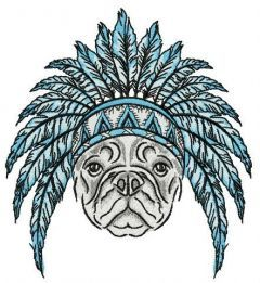Bulldog ready for Indian party embroidery design