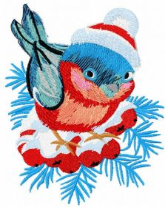 Bullfinch winter branch embroidery design