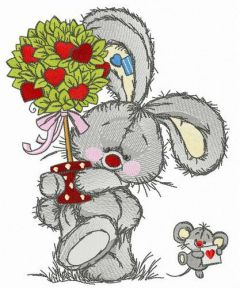 Bunny and mousekin Valentine's Day embroidery design