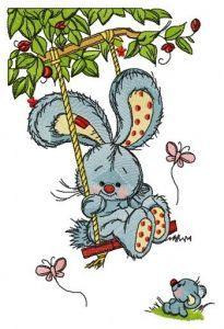 Bunny swinging on teeter embroidery design 2