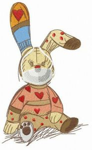 Bunny toy with face mask embroidery design