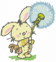 Bunny with dandelion embroidery design