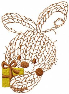 Bunny with gift embroidery design
