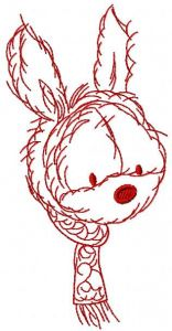 Bunny with scarf embroidery design