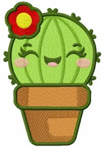 Cactus in Flower Pot embroidery design