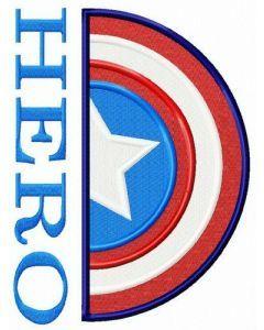 Captain America hero embroidery design