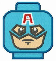 Captain America LEGO head embroidery design