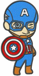 Captain America with shield embroidery design
