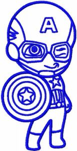 Captain America with shield one colored embroidery design