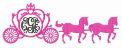 Carriage with horses embroidery design