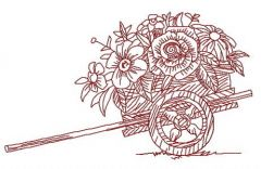 Cart with flowers embroidery design 2