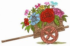 Cart with flowers embroidery design