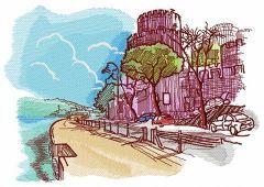 Castle near sea embroidery design