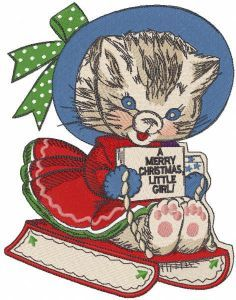 Cat christmas sledding embroidery design