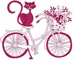 Cat and bicycle embroidery design