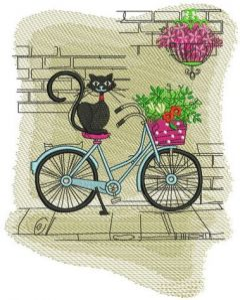 Cat's Italian journey embroidery design