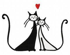 Cat's love embroidery design 4