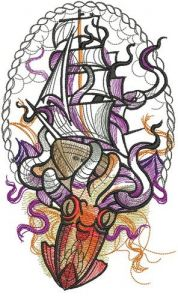 Caught by octopus embroidery design
