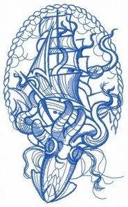Caught by octopus one color embroidery design
