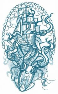 Caught by octopus sketch embroidery design