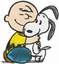 Charlie brown love snoopy embroidery design