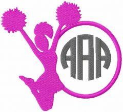 Cheerleader monogram free embroidery design