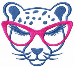 Cheetah with glasses embroidery design
