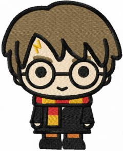 Chibi Harry Potter embroidery design
