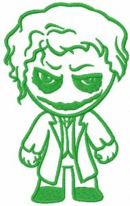 Joker chibi one color embroidery design