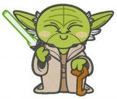 Chibi Master Yoda embroidery design